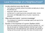 local knowledge of a neighbourhood