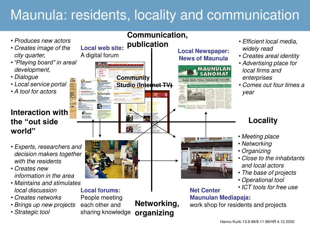 Maunula: residents, locality and communication