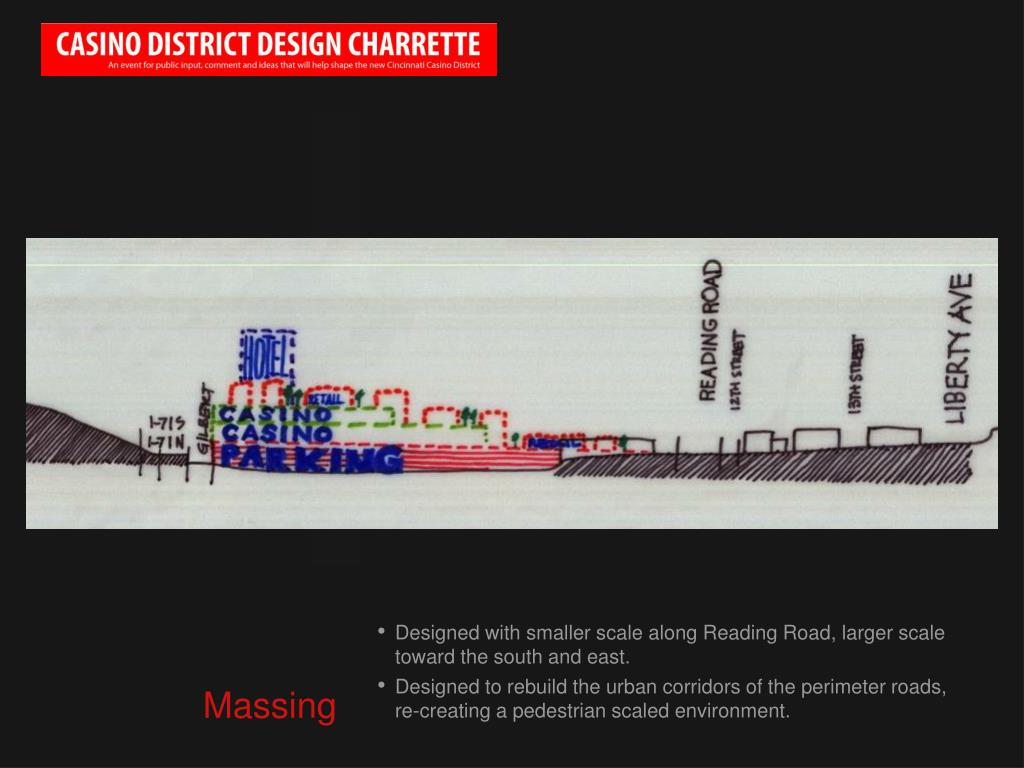 Designed with smaller scale along Reading Road, larger scale toward the south and east.