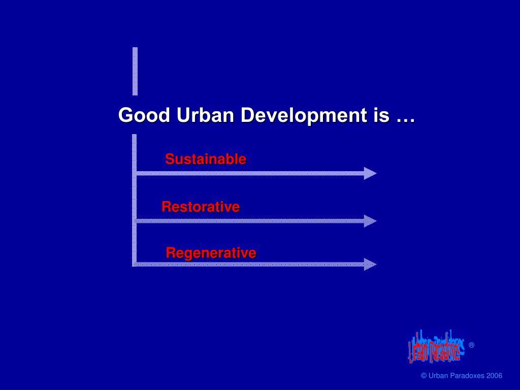 Good Urban Development is …