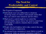 the need for predictability and control6