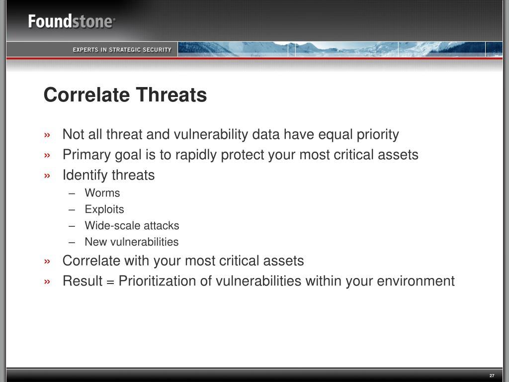 Correlate Threats