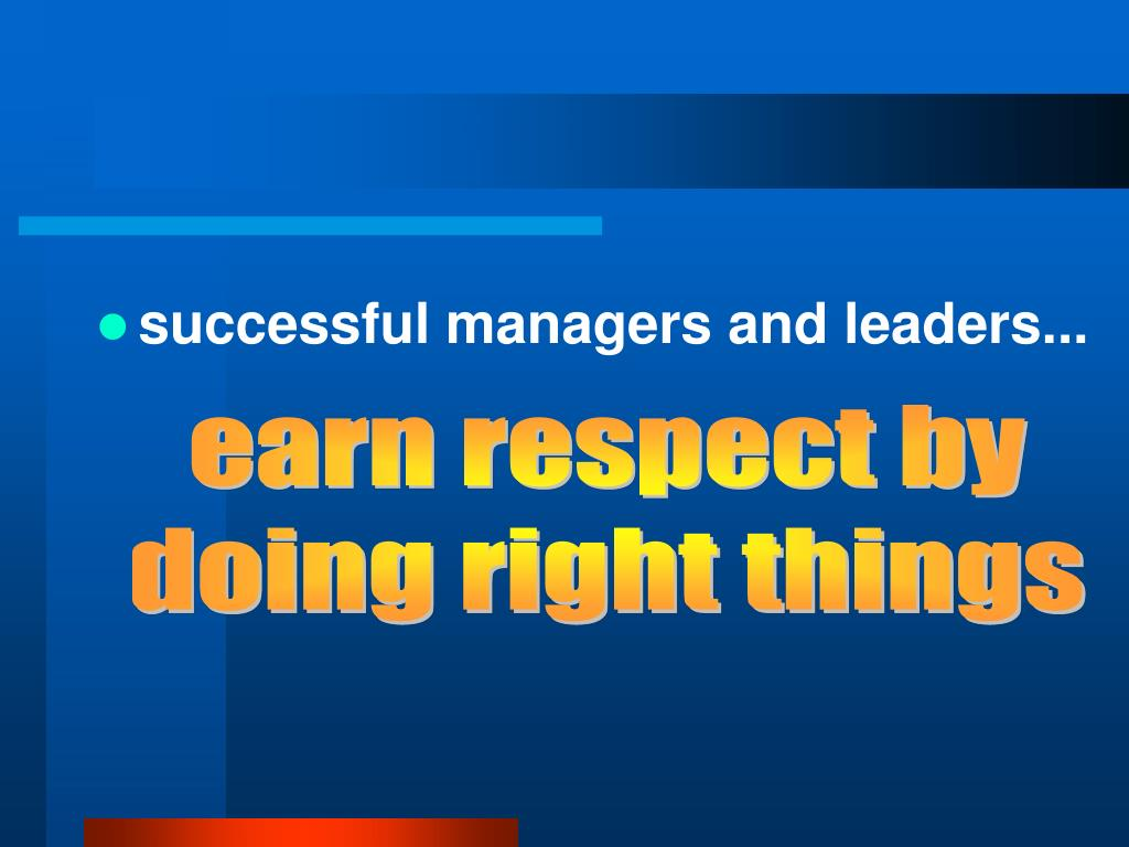 successful managers and leaders...