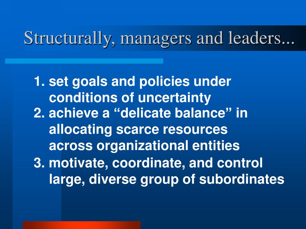 Structurally, managers and leaders...