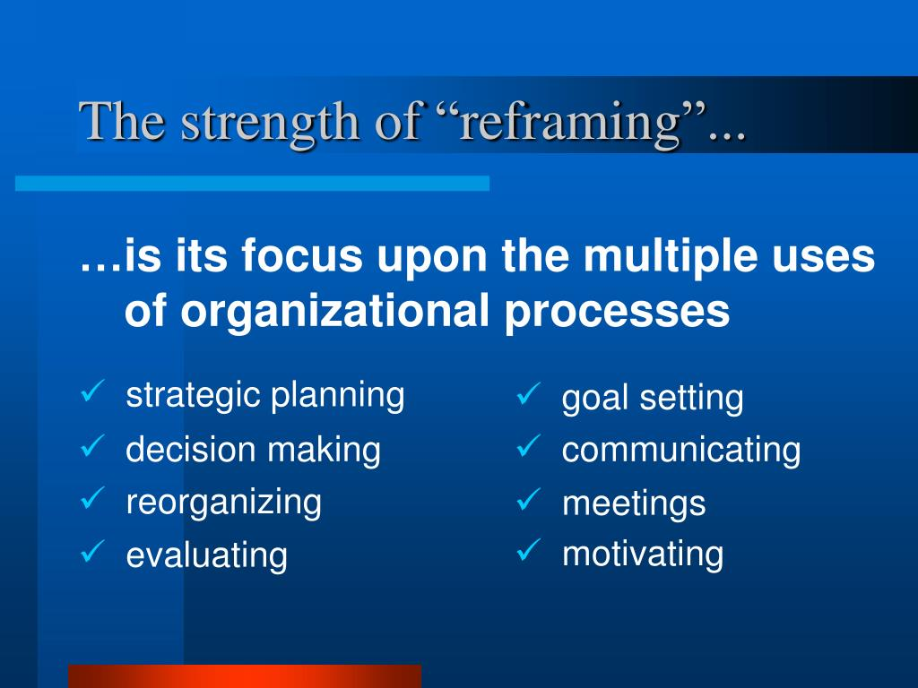 "The strength of ""reframing""..."