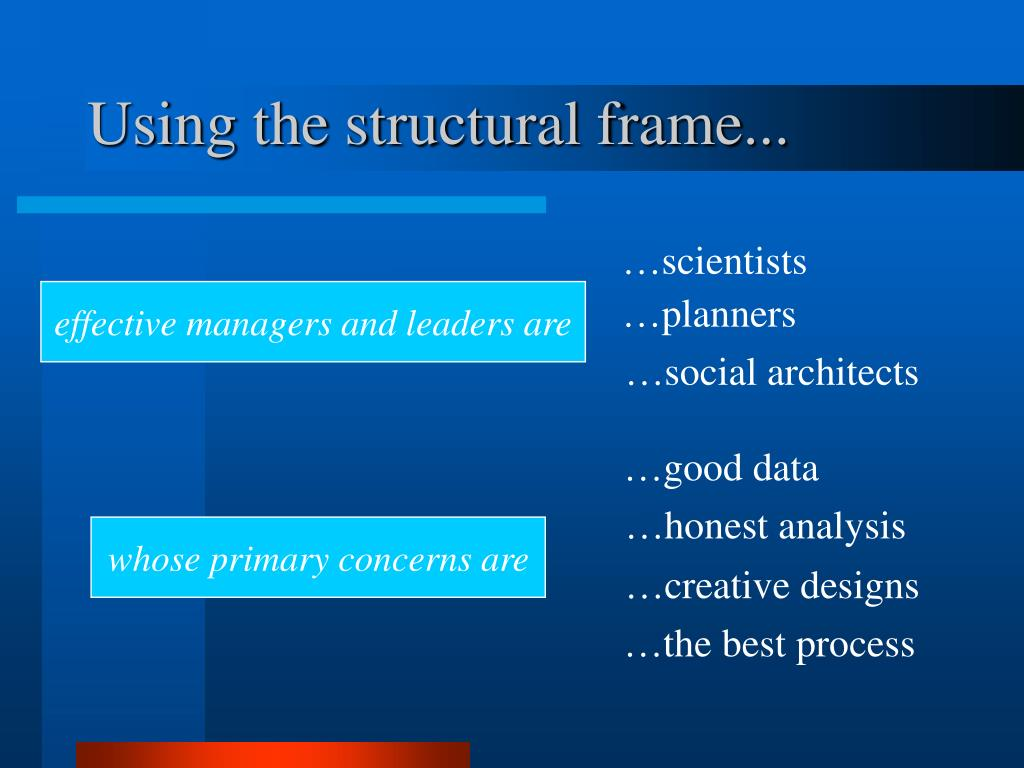 Using the structural frame...