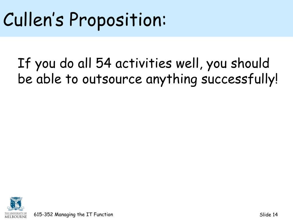 Cullen's Proposition: