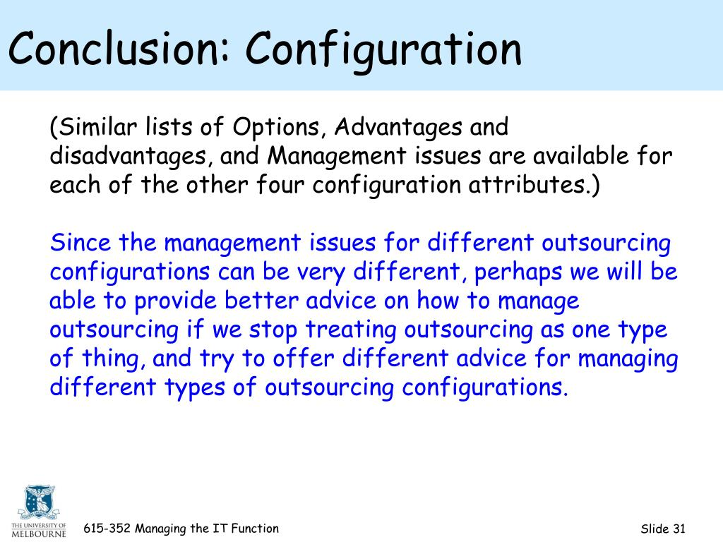 Conclusion: Configuration