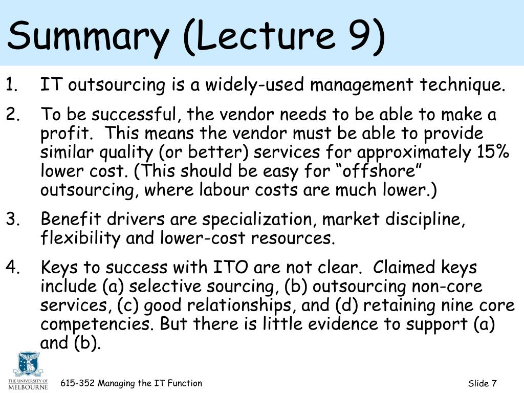 Summary (Lecture 9)
