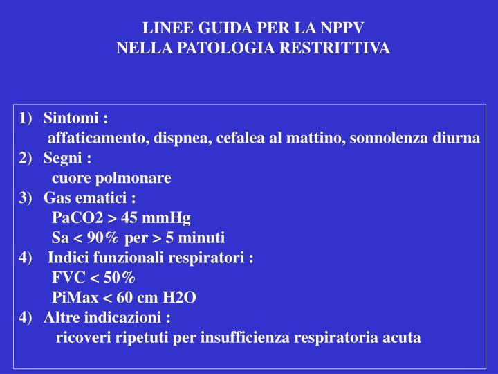 LINEE GUIDA PER LA NPPV