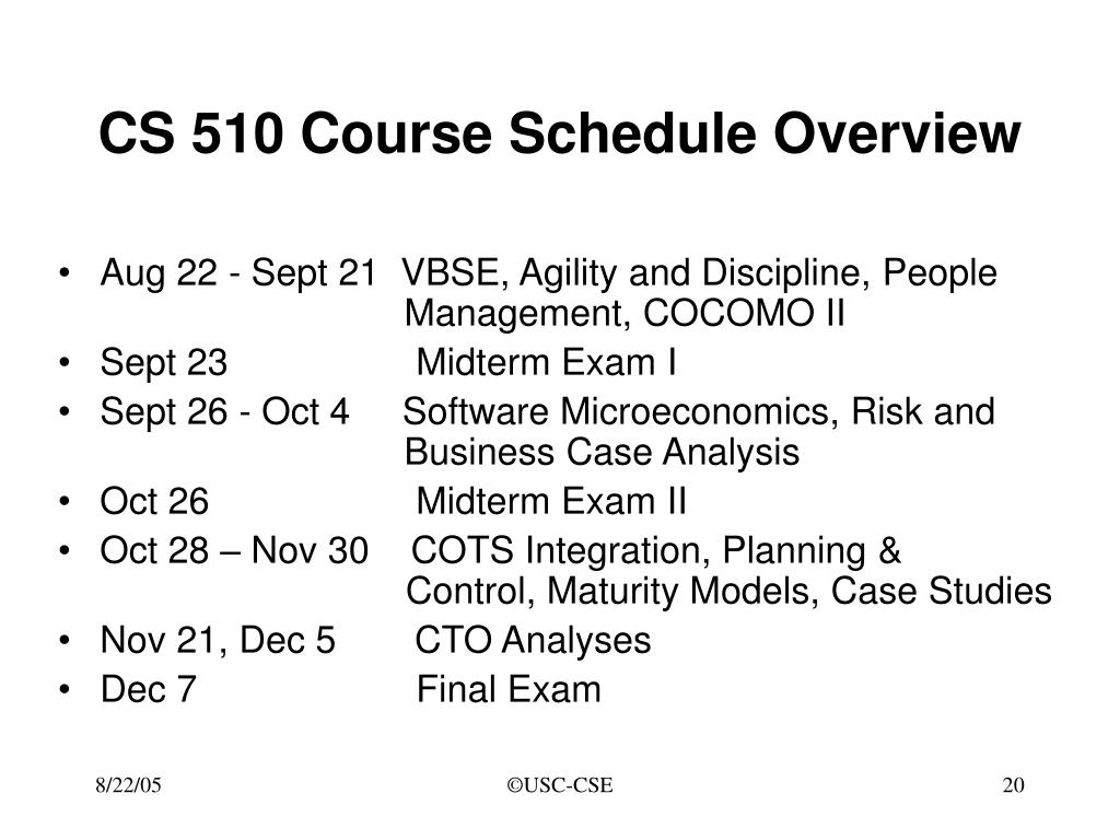CS 510 Course Schedule Overview