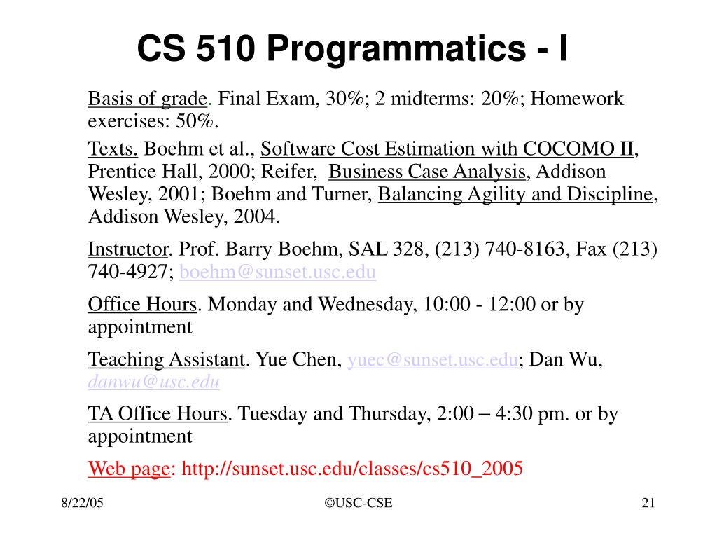 CS 510 Programmatics - I