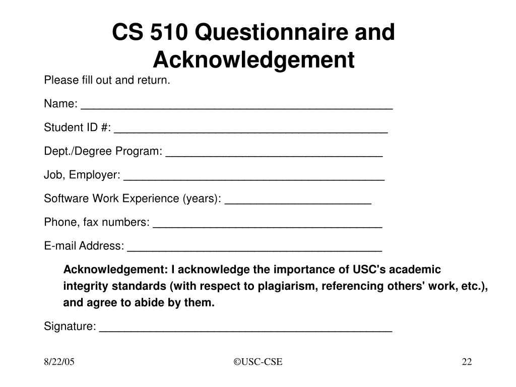 CS 510 Questionnaire and Acknowledgement