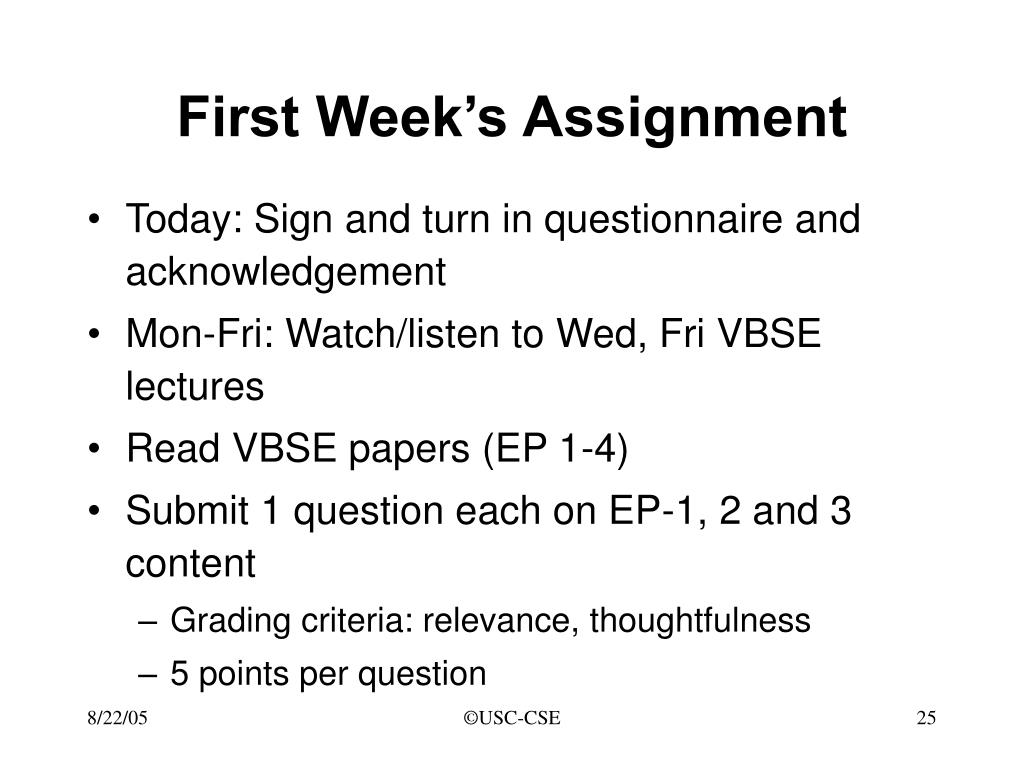 First Week's Assignment