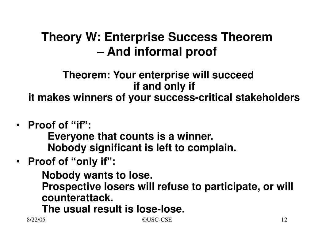Theory W: Enterprise Success Theorem