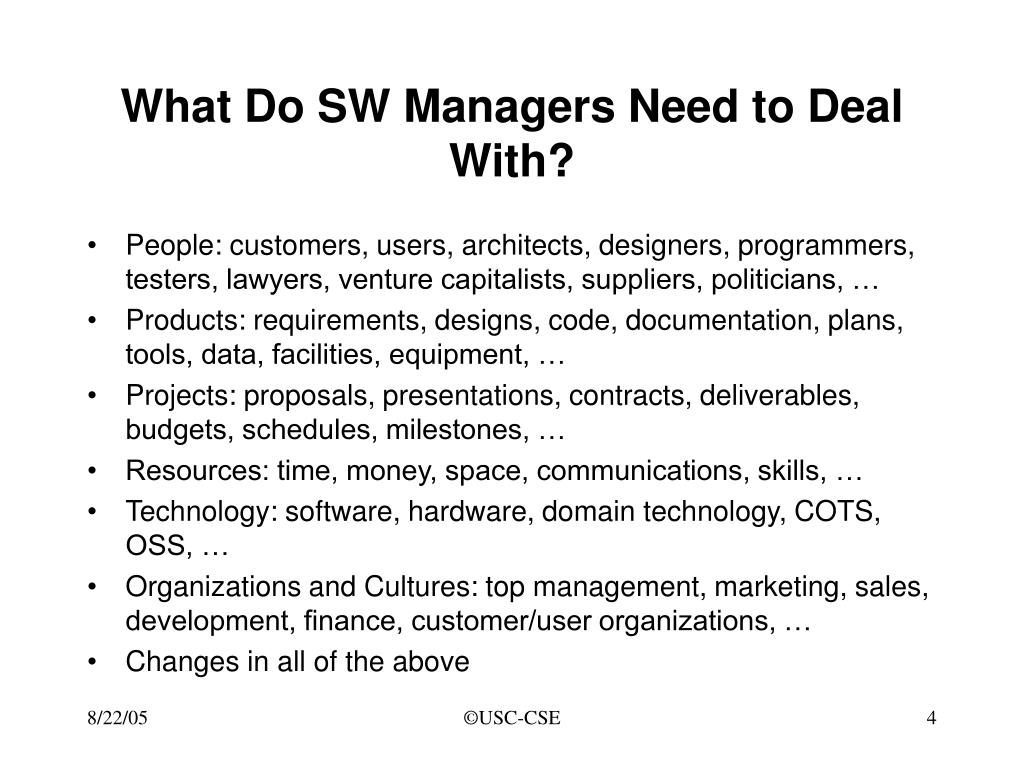 What Do SW Managers Need to Deal With?