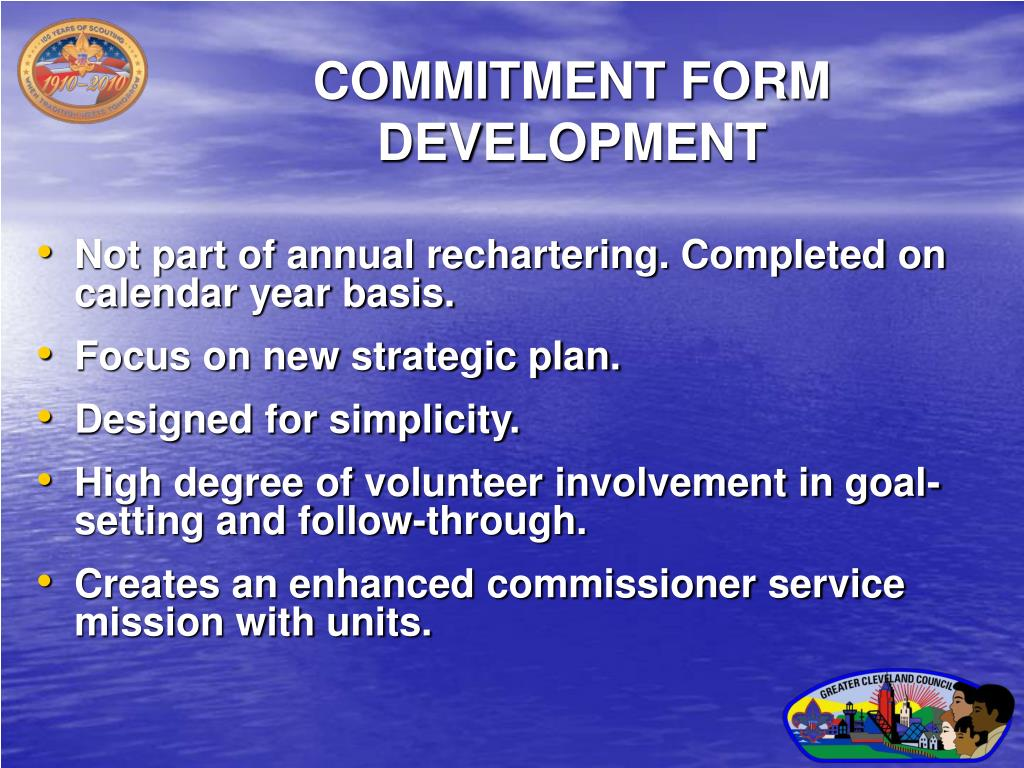 COMMITMENT FORM DEVELOPMENT