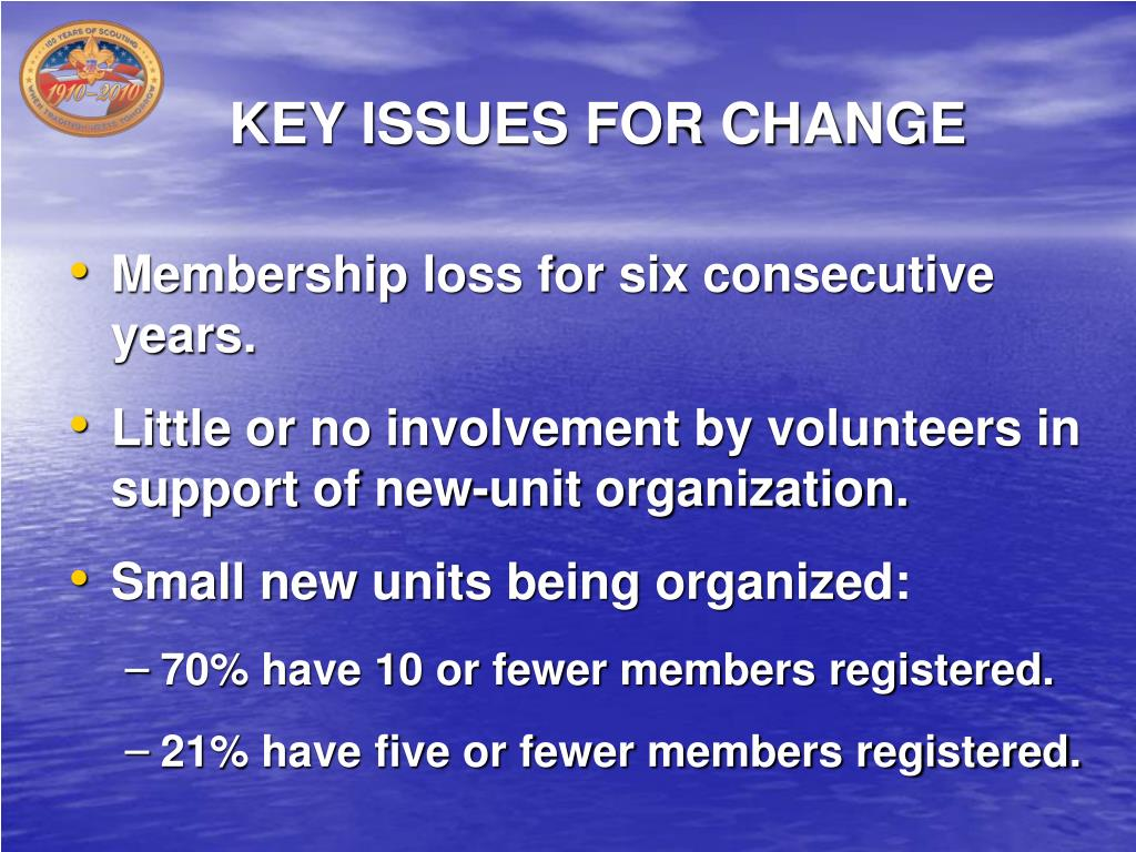 KEY ISSUES FOR CHANGE