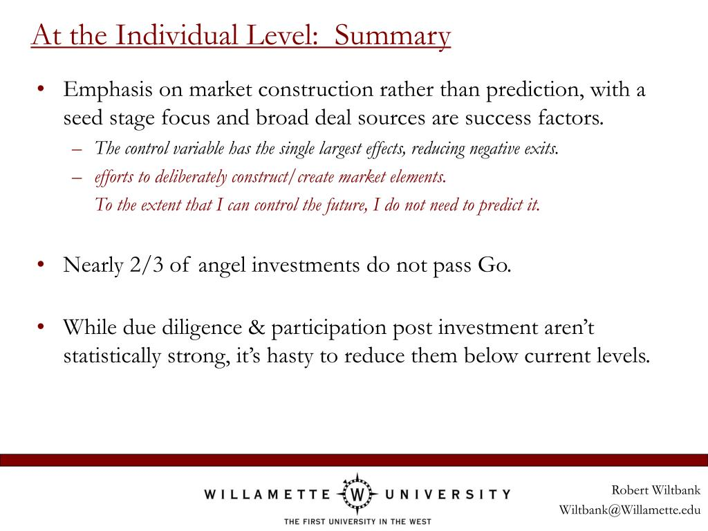At the Individual Level:  Summary
