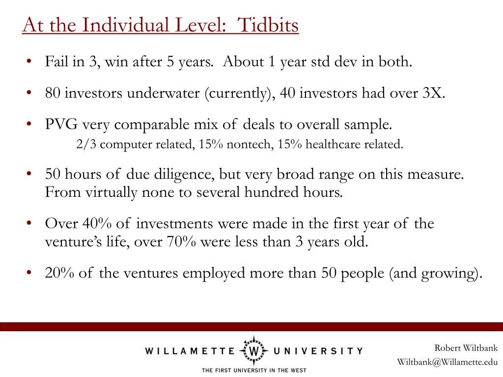 At the Individual Level:  Tidbits