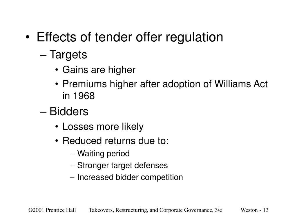 Effects of tender offer regulation