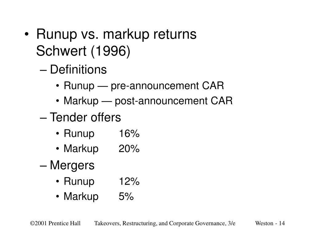 Runup vs. markup returns