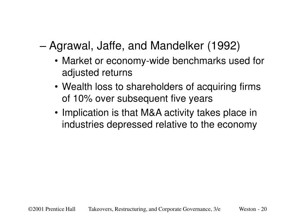 Agrawal, Jaffe, and Mandelker (1992)