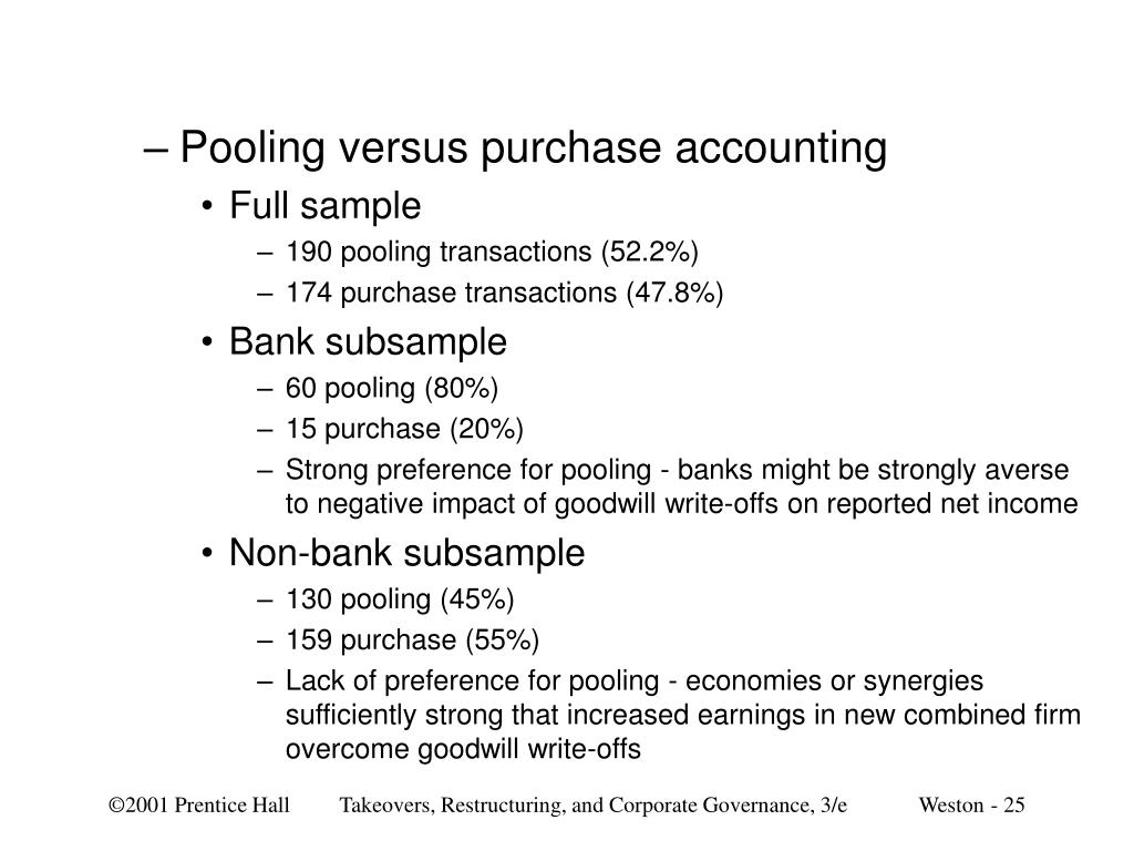 Pooling versus purchase accounting