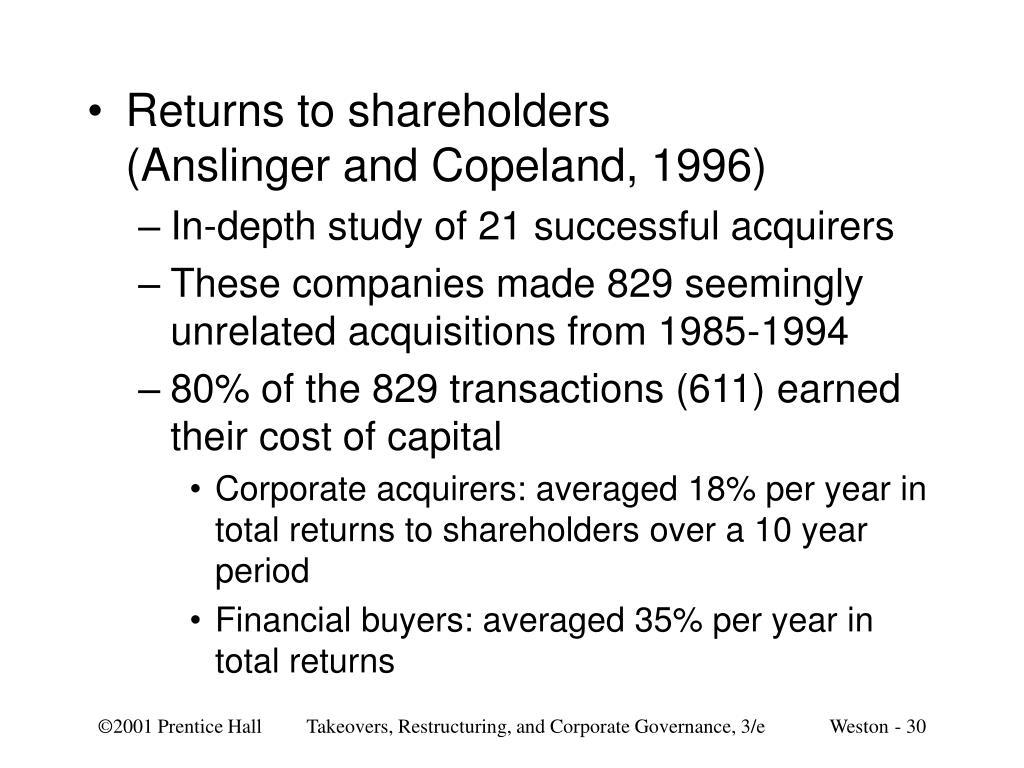 Returns to shareholders