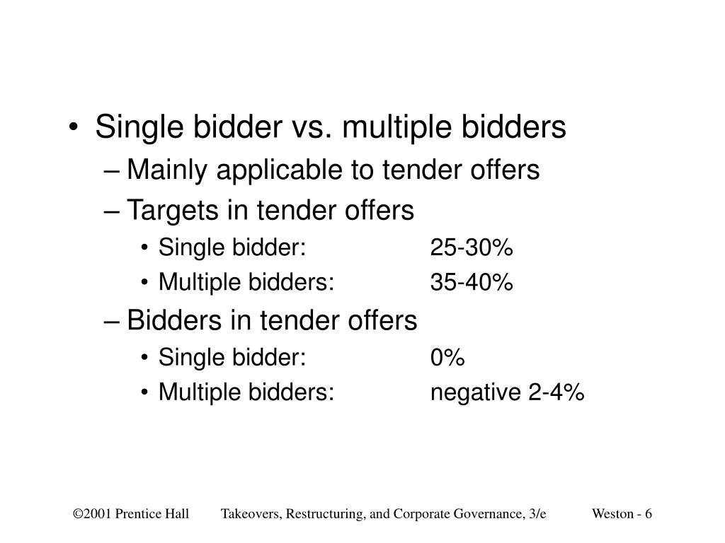 Single bidder vs. multiple bidders