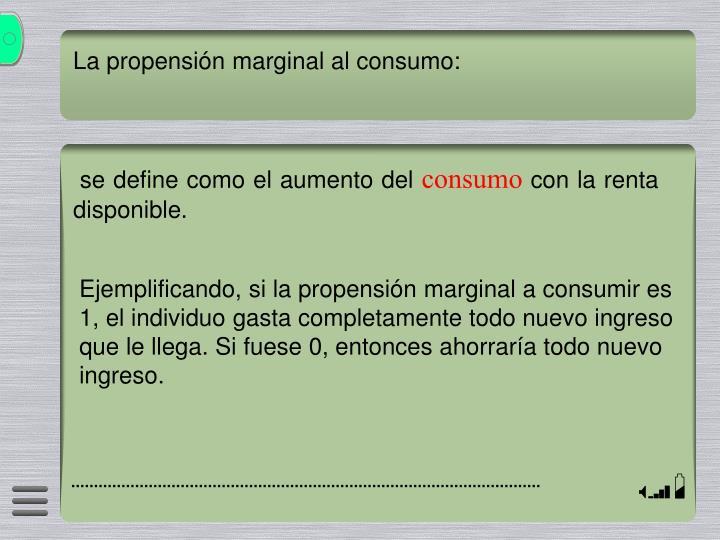 La propensión marginal al consumo:
