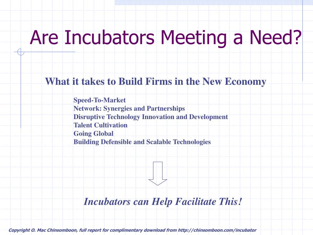 Are Incubators Meeting a Need?