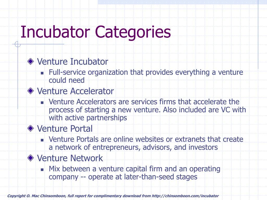 Incubator Categories