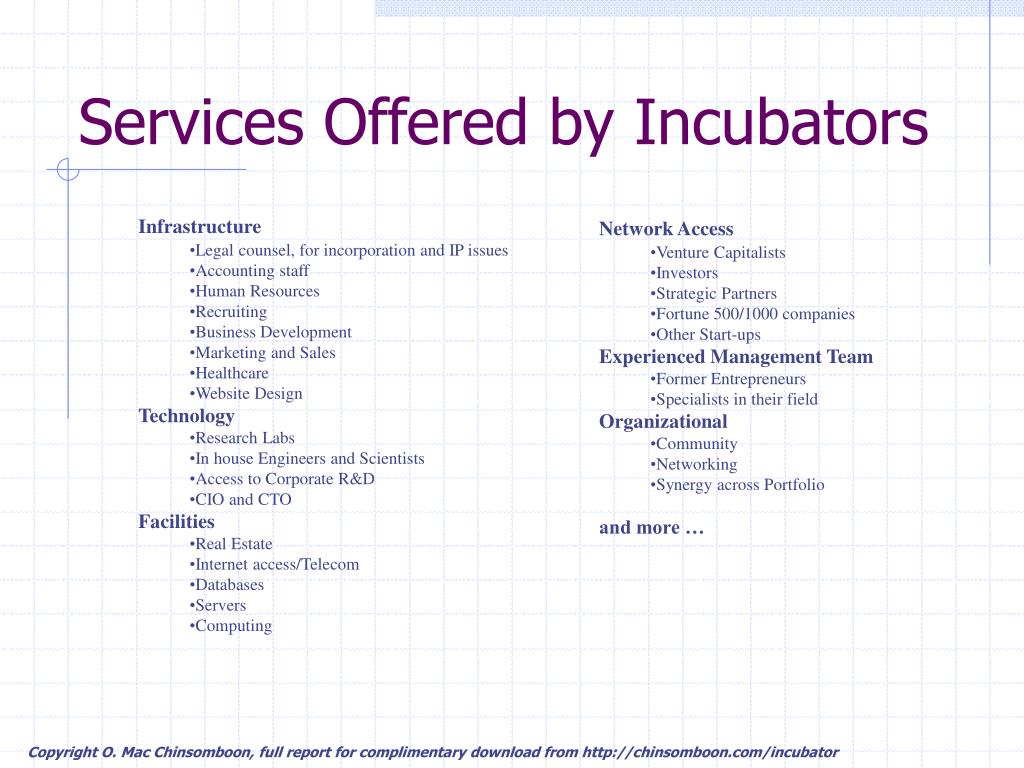 Services Offered by Incubators