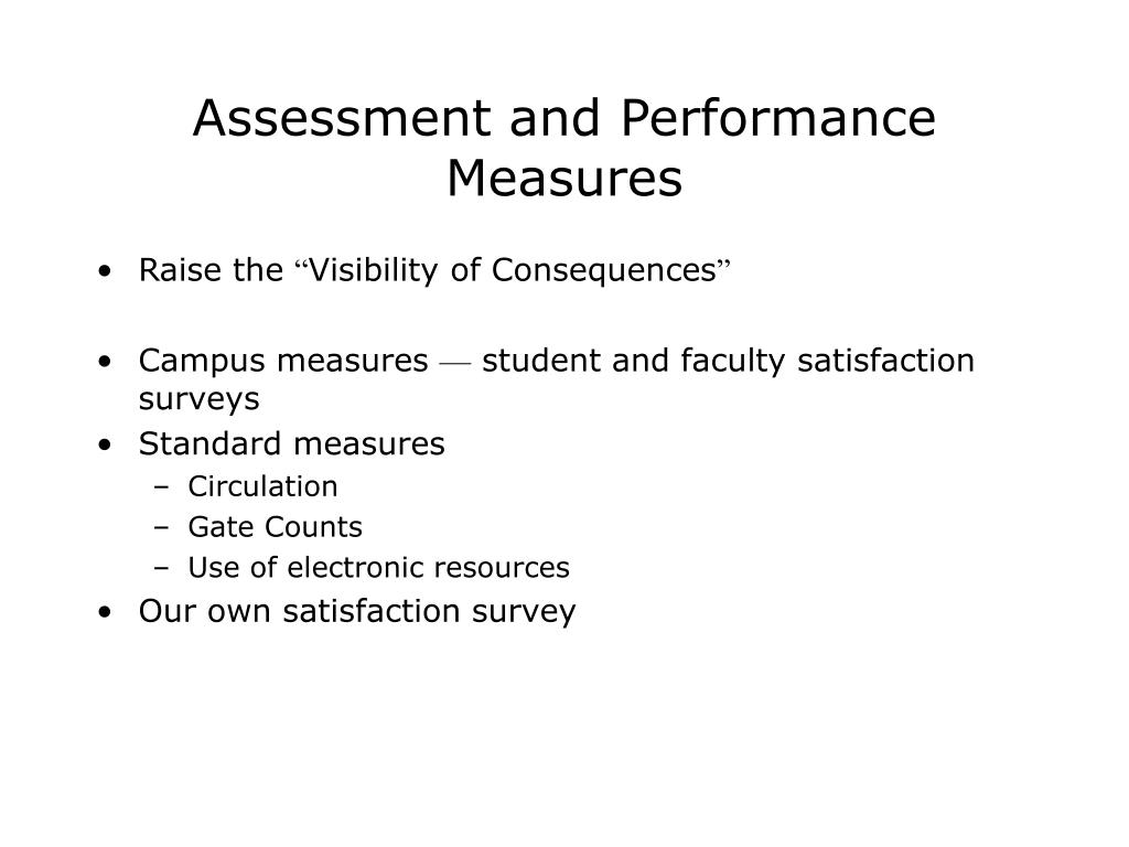 Assessment and Performance Measures