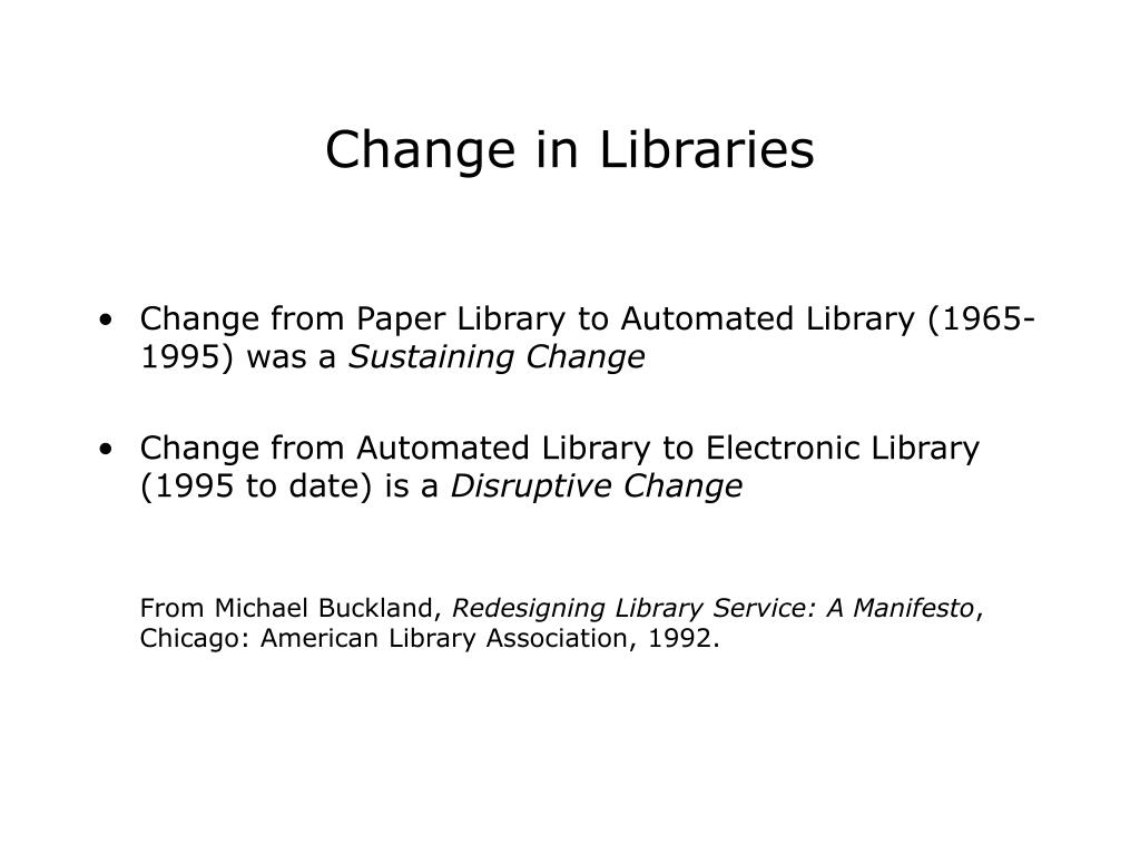 Change in Libraries