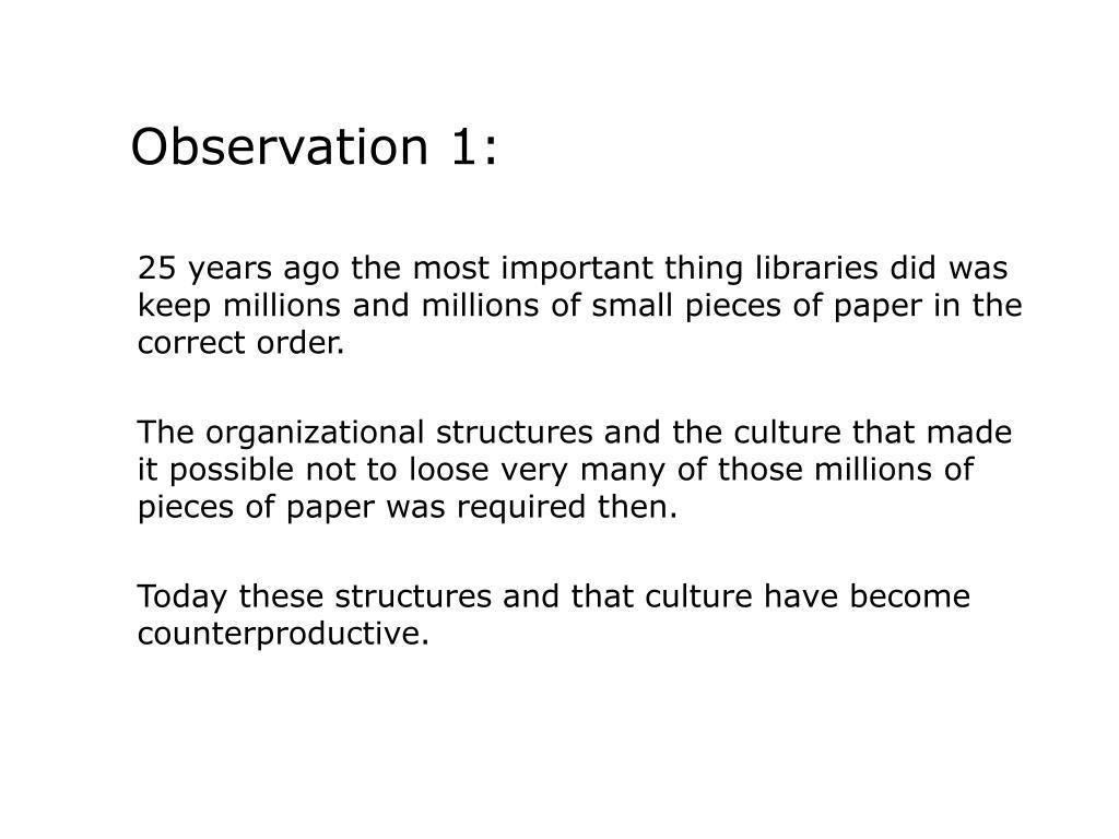Observation 1: