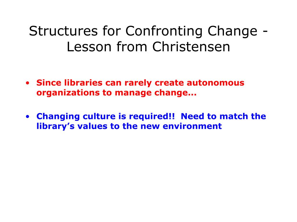 Structures for Confronting Change - Lesson from Christensen