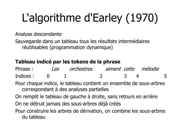 L'algorithme d'Earley (1970)