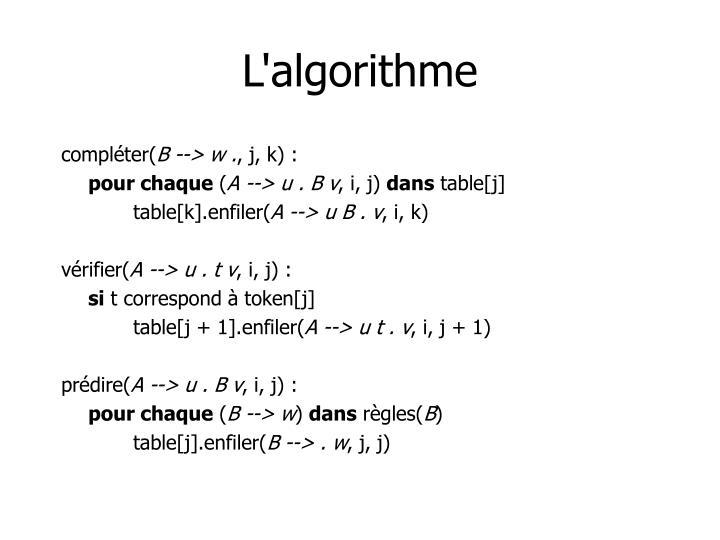 L'algorithme