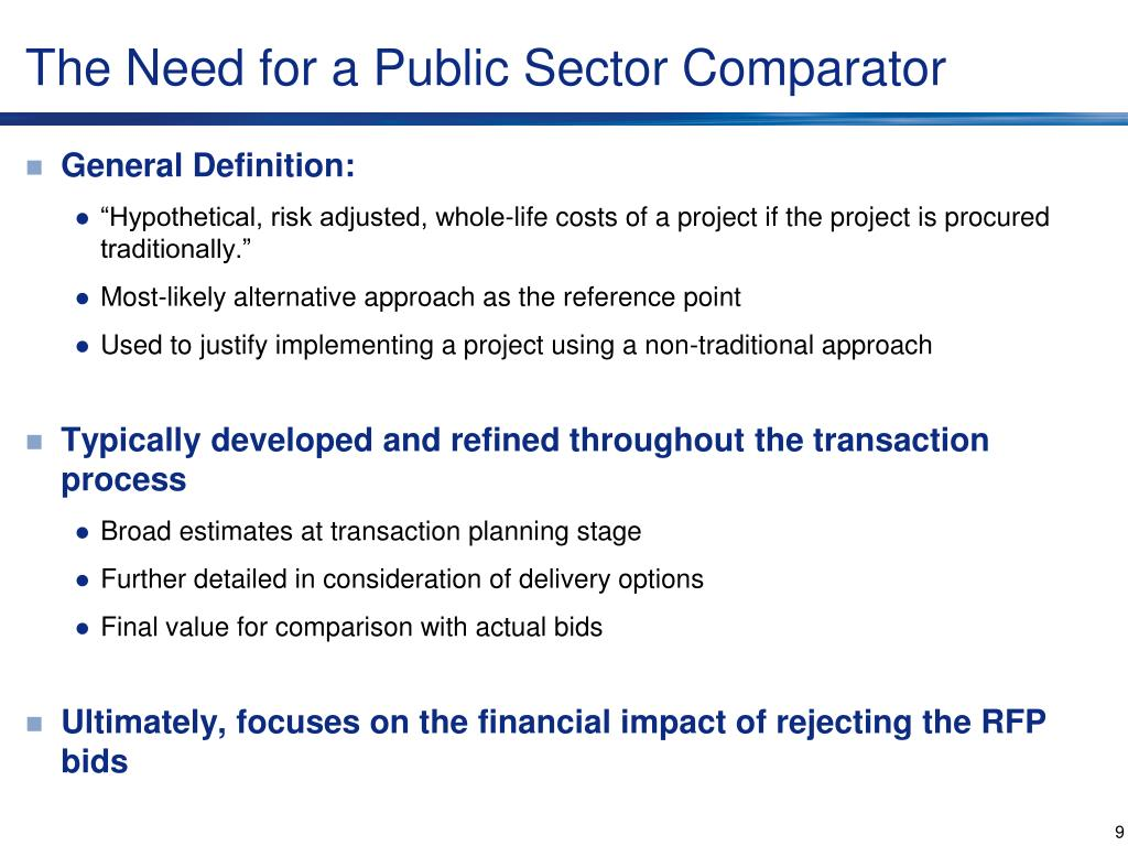 The Need for a Public Sector Comparator