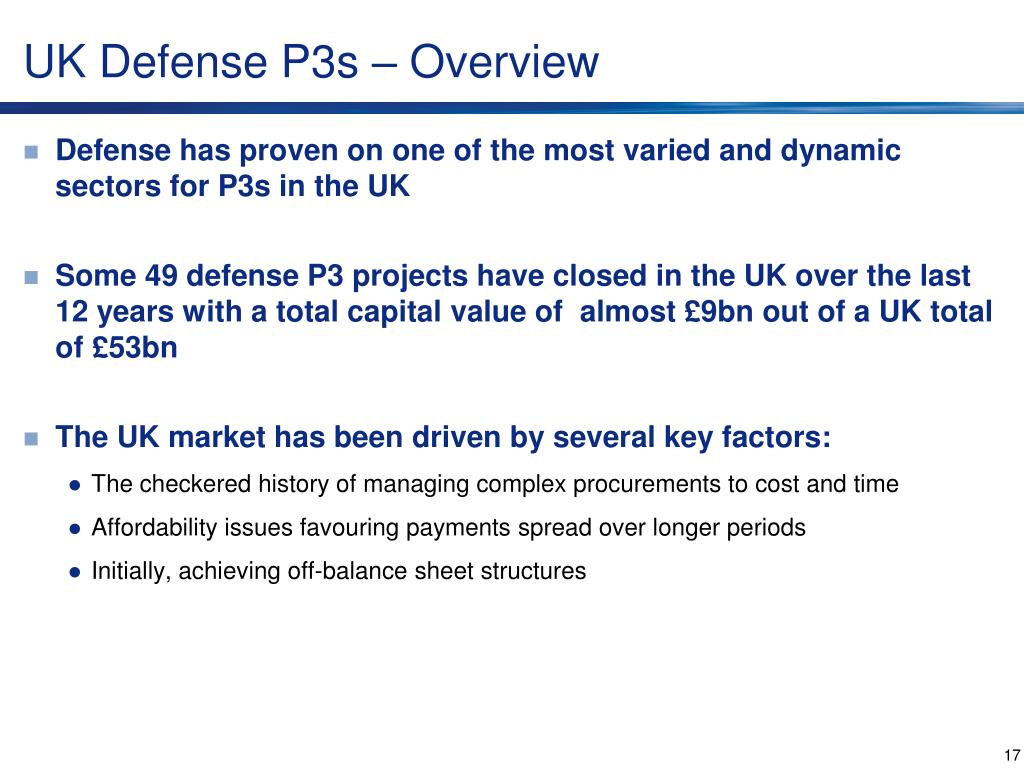 UK Defense P3s – Overview