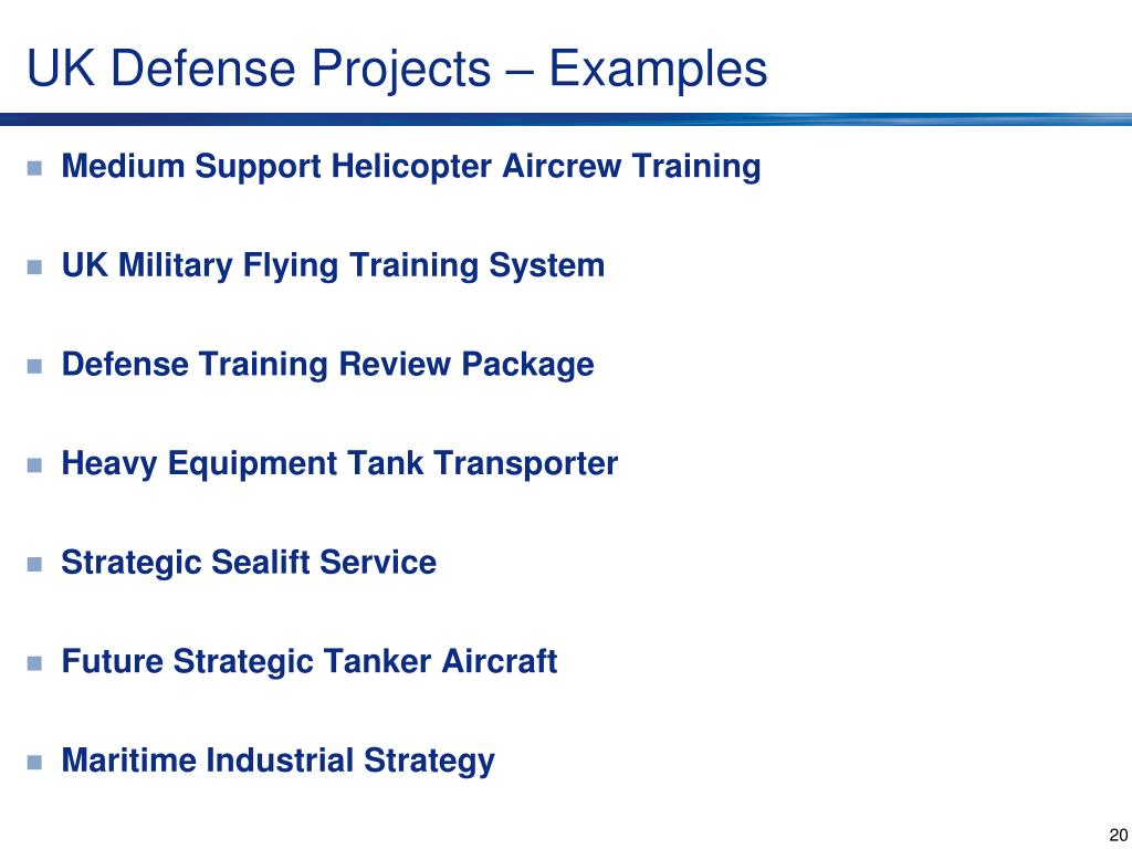 UK Defense Projects – Examples