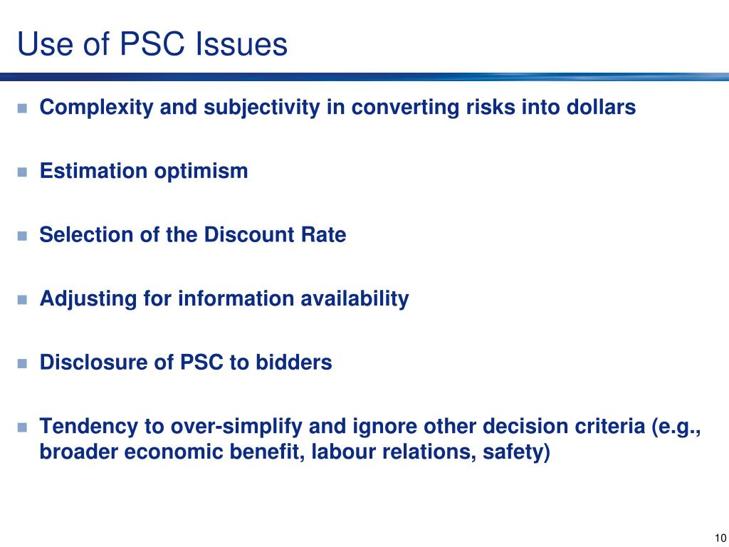 Use of PSC Issues