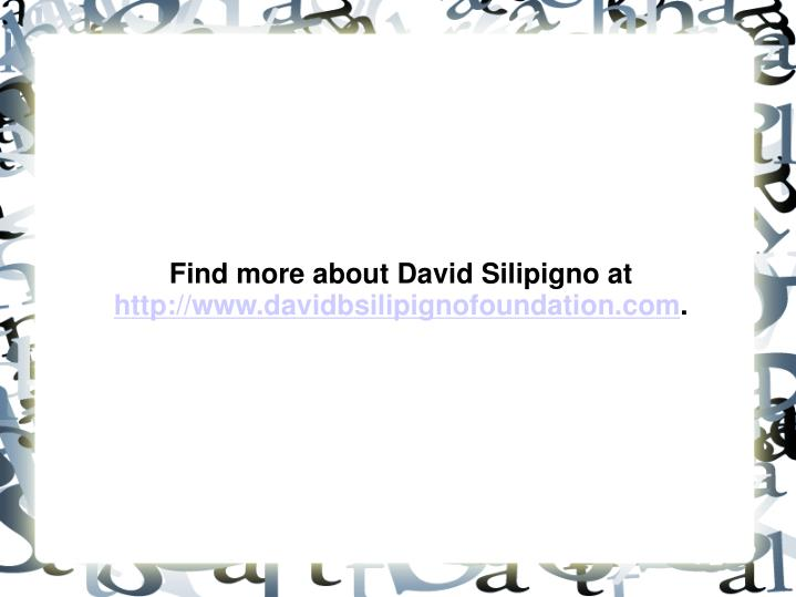 Find more about David Silipigno at