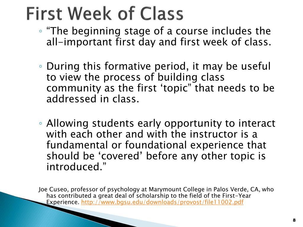 First Week of Class