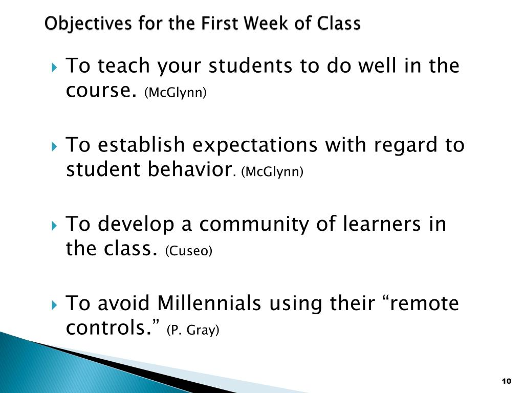 Objectives for the First Week of Class