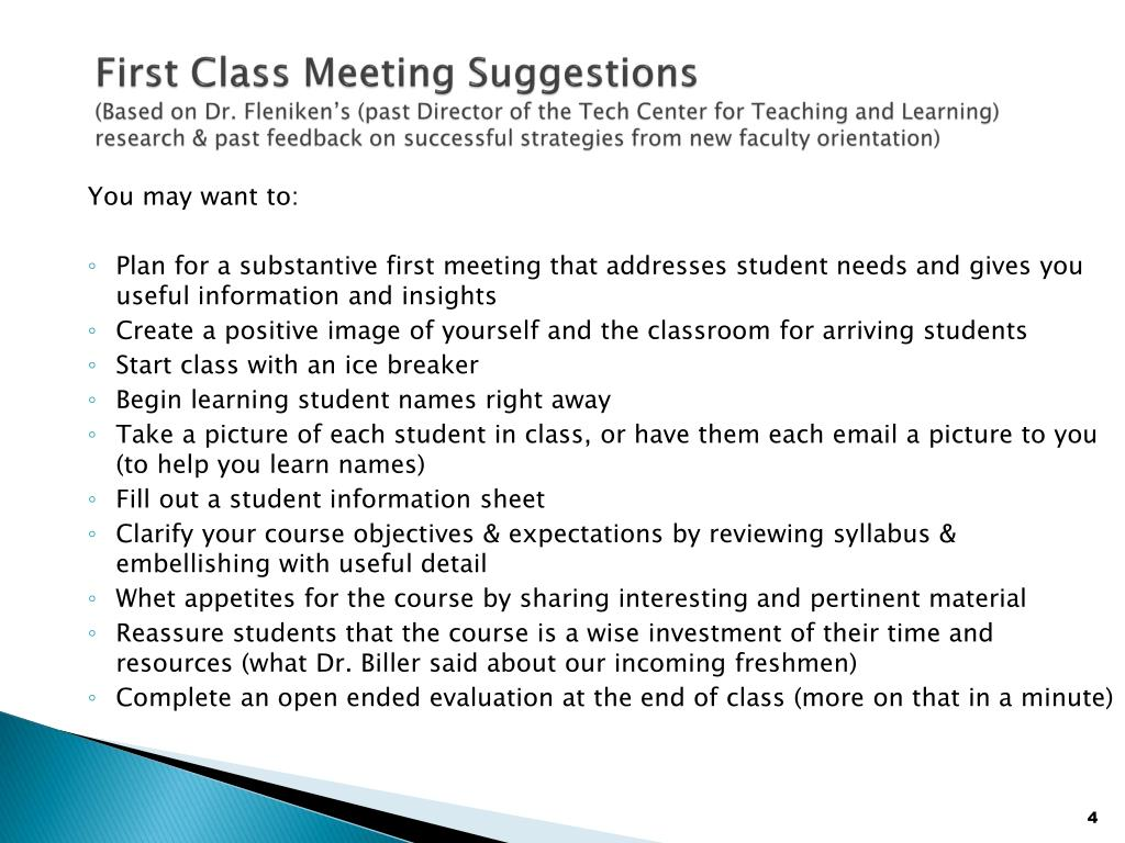 First Class Meeting Suggestions