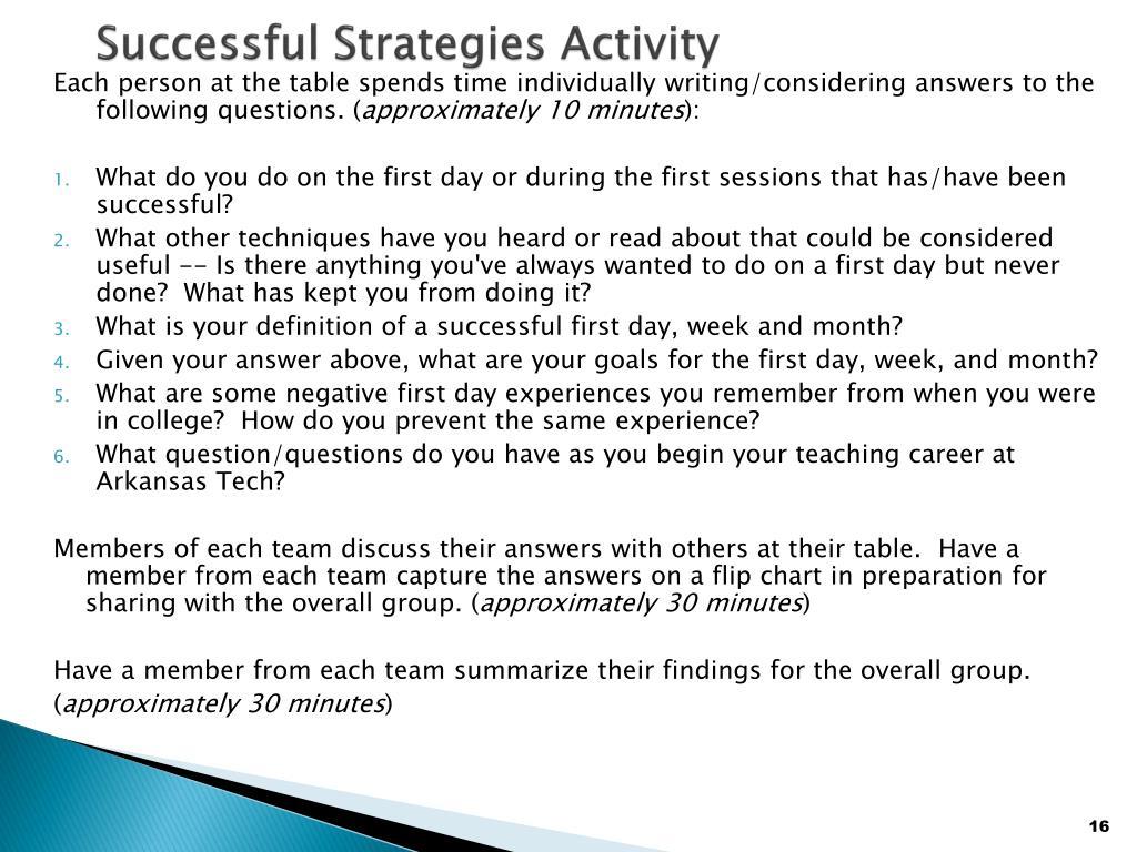 Successful Strategies Activity
