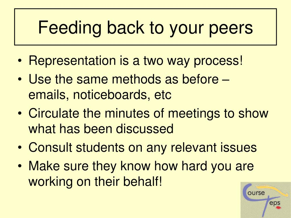 Feeding back to your peers